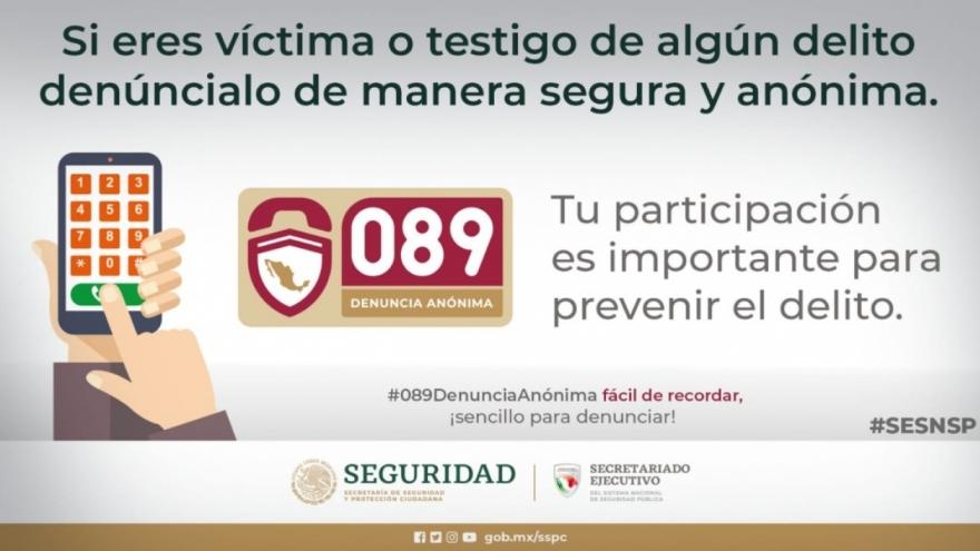 Fácil de recordar, ¡sencillo para denunciar! #089DenunciaAnonima